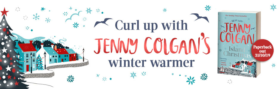 "Banner advertising author Jenny Colgan's latest book ""Island Christmas"""